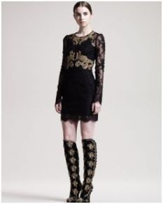 Dolce & Gabbana- Long-Sleeve Embroidered Lace Dress