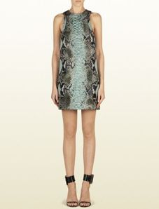 Gucci – Light Green Jacquard Python Motif Tunic Dress