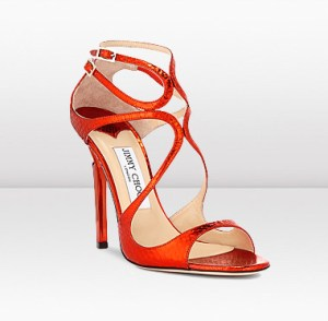 Jimmy Choo Lance in Tangerine Watersnake