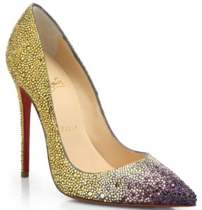 Christian lLouboutin Yellow Ombreacute Crystal Leather Pumps