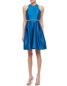 ML Monique Lhuiller Sleeveless Belted Party Dress