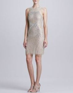 Naeem Khan – High-Neck Ray-Beaded Cocktail Dress