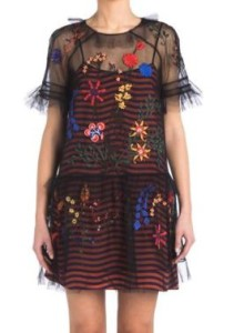 Fendi Embroidered Tulle Overlay Dress
