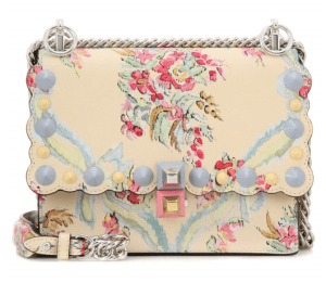 Fendi Kan Small Floral-printed Leather Shoulder Bag