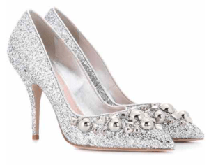 Miu Miu Studded Glitter Pumps