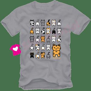 เสื้อยืดลายแมว CAT-06 สีเทา