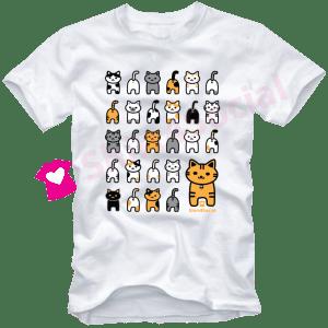 เสื้อยืดลายแมว CAT-06 สีขาว