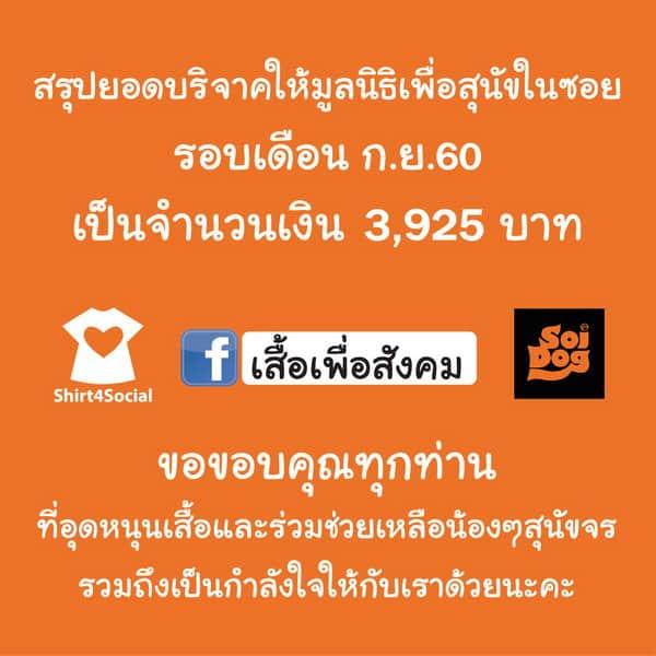 อัพเดทเงินบริจาค มูลนิธิเพื่อสุนัขในซอย กันยายน 2560