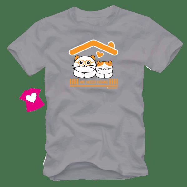 เสื้อยืดลายแมว CAT-15 สีเทา