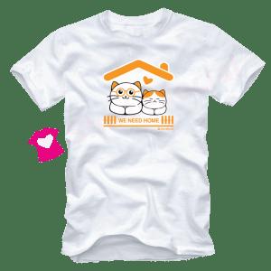 เสื้อยืดลายแมว CAT-15 สีขาว