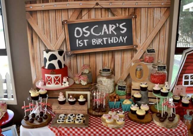 Boys Barnyard Themed Birthday Party Dessert Table Decoration