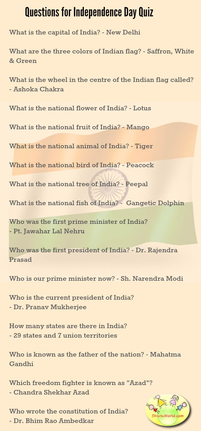 50 independence day republic day ideas craftsfoodbooksdress independence day quiz questions for kids nvjuhfo Image collections