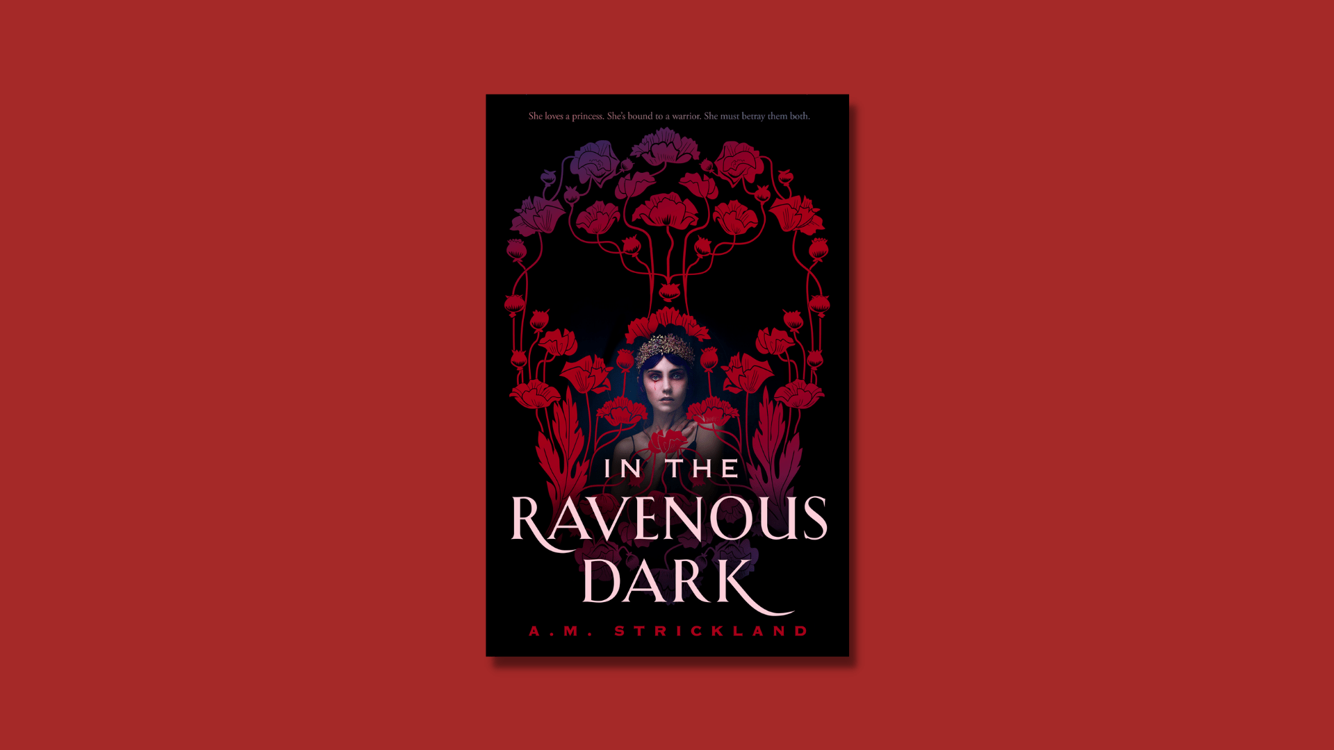 The book In the Ravenous Dark by A.M. Strickland against a dark red background