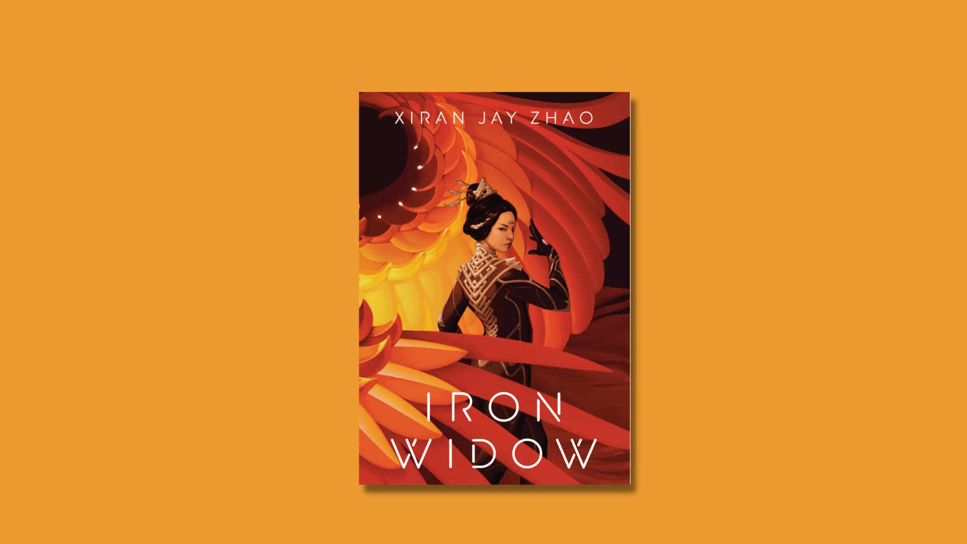 The cover of Iron Widow Xiran Jay Zhao against a yellow/orange background