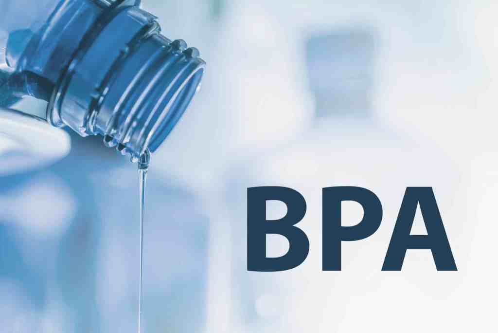 Water bottle pouring out water with BPA.