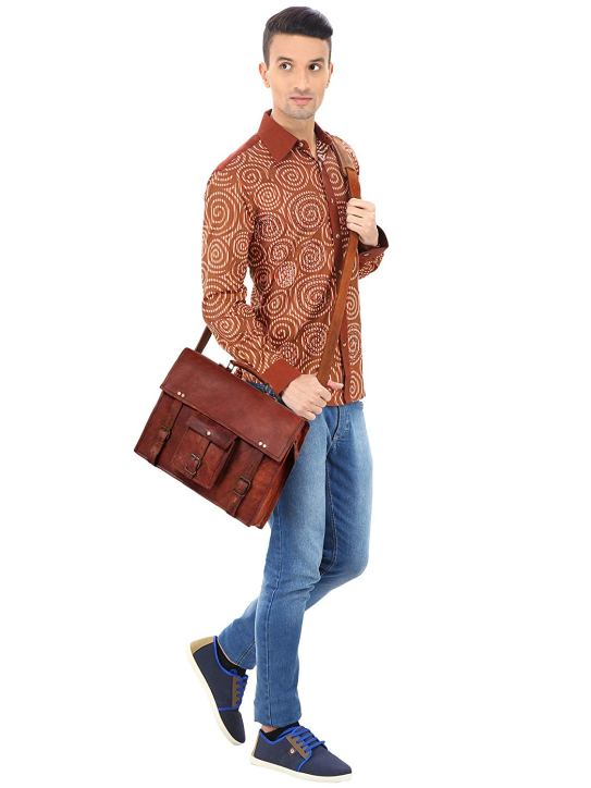 Gentleman with leather messenger bag across his chest