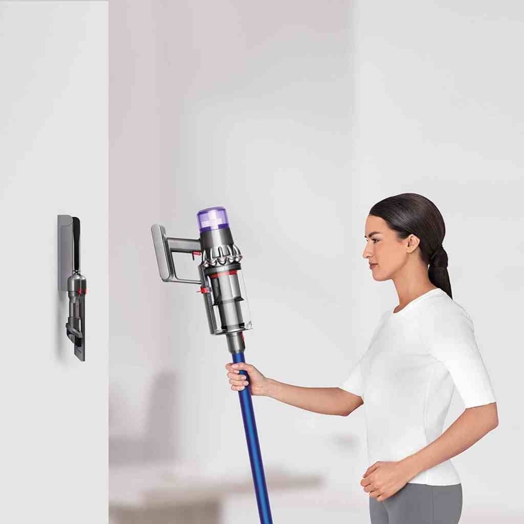 storing a portable dyson vac on the wall charger