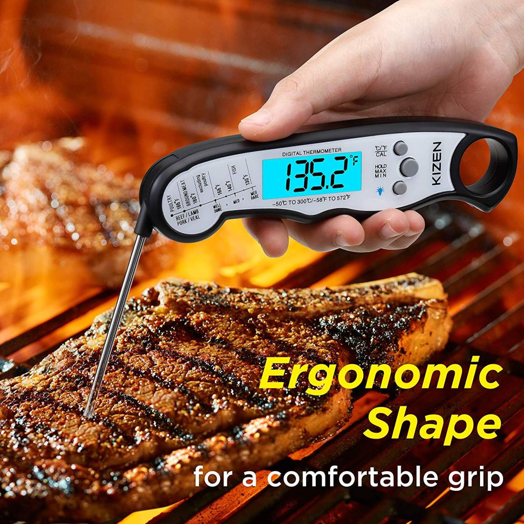 Ergonomic meat thermometer for gas grilling