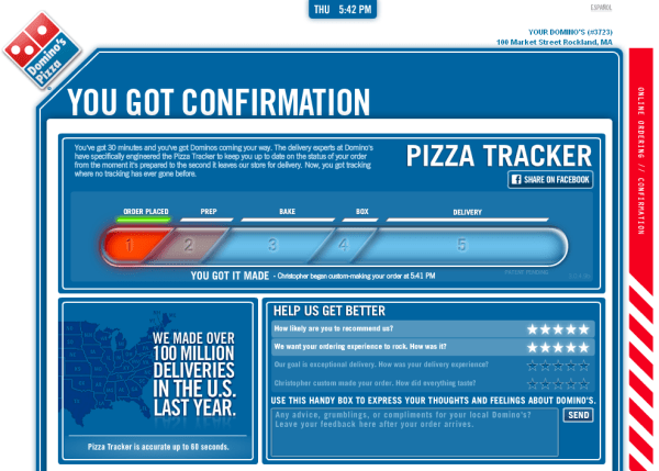 domino's pizza tracker progress chart