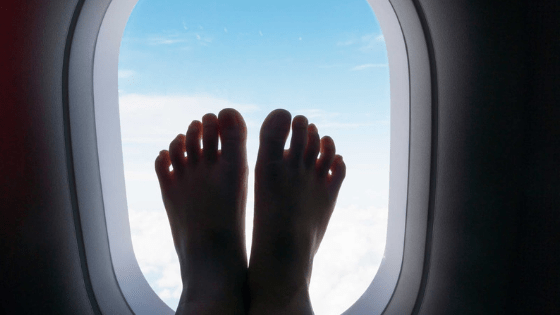 tired feet on flight
