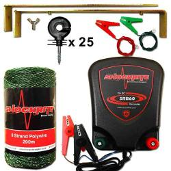 ShockRite Battery Powered Electric Fence Energiser SRB60 0.6J, 200m 6 Strand Green Electric Fence Wire, Earth Stake, Connection Cables and 25 insulators