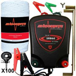 ShockRite Battery Powered Electric Fence Energiser SRB60 0.6J, 200m White 6 Strand Electric Fencing Polywire, Connection Cables and 100 Insulators