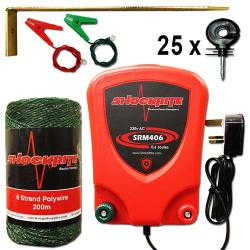 ShockRite Mains Powered Electric Fence Energiser SRB406 0.6J, 200m 6 Strand Green Electric Fence Wire, Earth Stake, Connection Cables and 25 Insulators