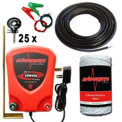 ShockRite Mains Powered SRM406 0.6J Electric Fence Energiser, 200m White 6 Strand Electric Fencing Wire, Lead Out Cable, Connection Cables, and 25 Insulators