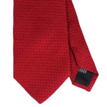 Körsbärsröd slips i grövre grenadine-väv.