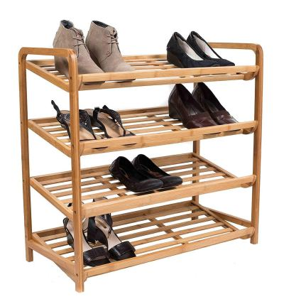 BirdRock Home 4 Tier Bamboo Shoe Rack Home Storage Organizer