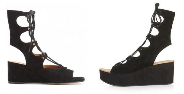 Copycat: Chloé x Topshop. Bekijk deze fashion copycat van Topshop hier. Deze plateau sandalen lijken wel erg veel op het ontwerp van modehuis Chloé.