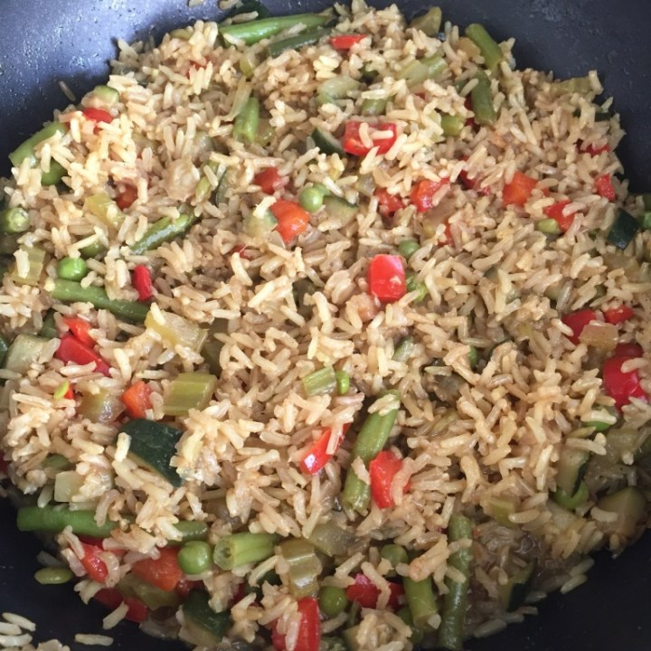 Brown rice with Mediterranean vegetables