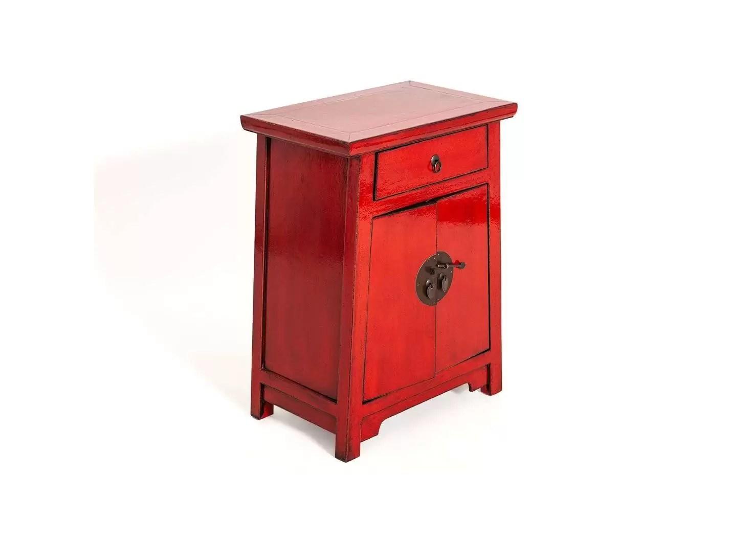 meuble d appoint chinois 2 portes 1 tiroir rouge