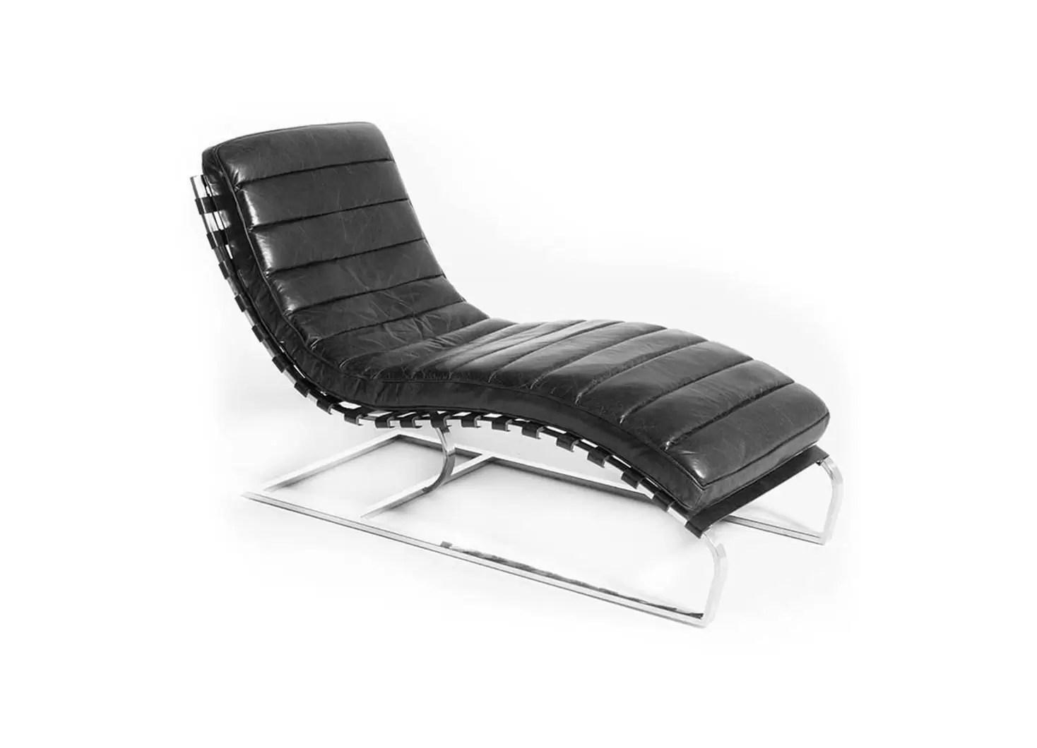 chaise longue lounge cuir noir et inox