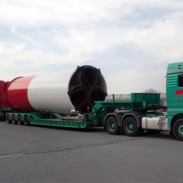 chimney sections oversize transport to Dhekelia