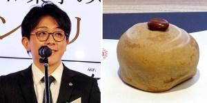 長澤真悟さん㊧と受賞作「LATE・焼」