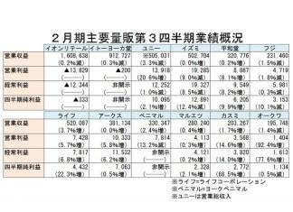 総合スーパー 食品スーパー 19年2月期第3四半期業績