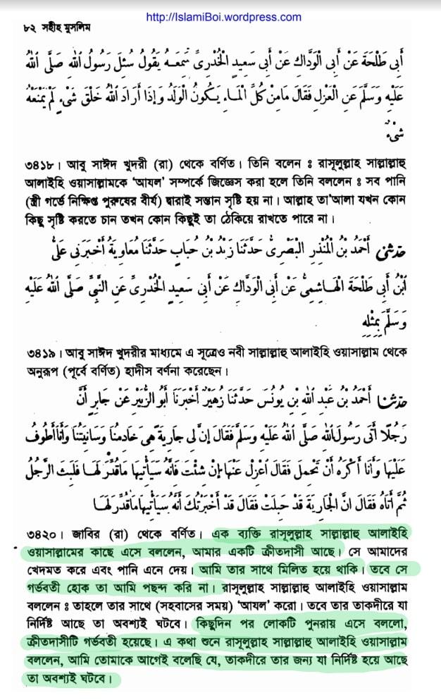 সহিহ মুসলিম ক্রীতদাসী সহবাস