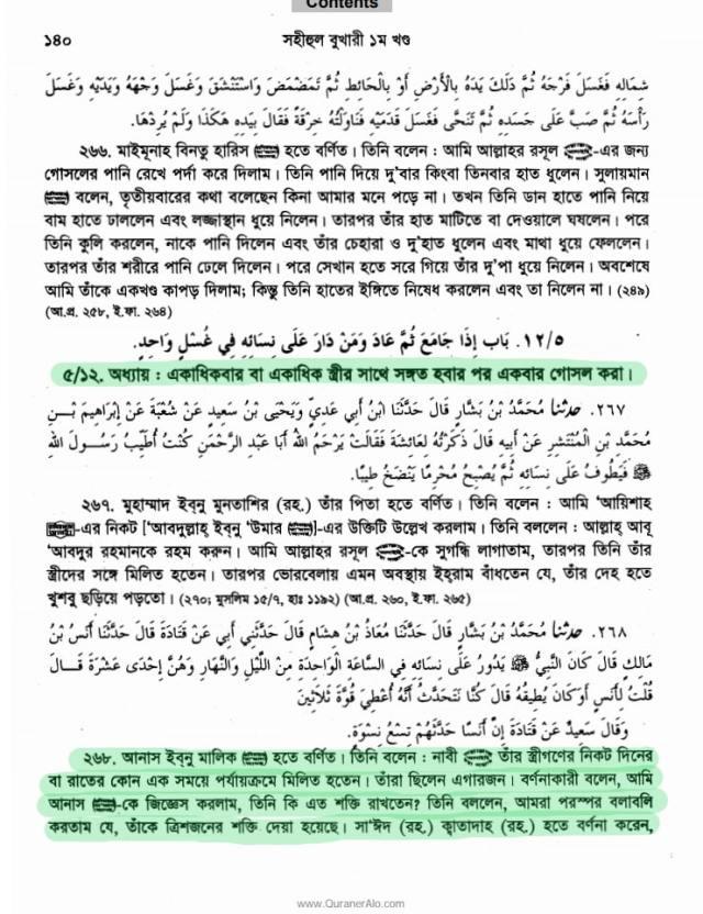 মুহাম্মদের সেক্স ম্যারাথন, বুখারী হাদিস- ২৬৮