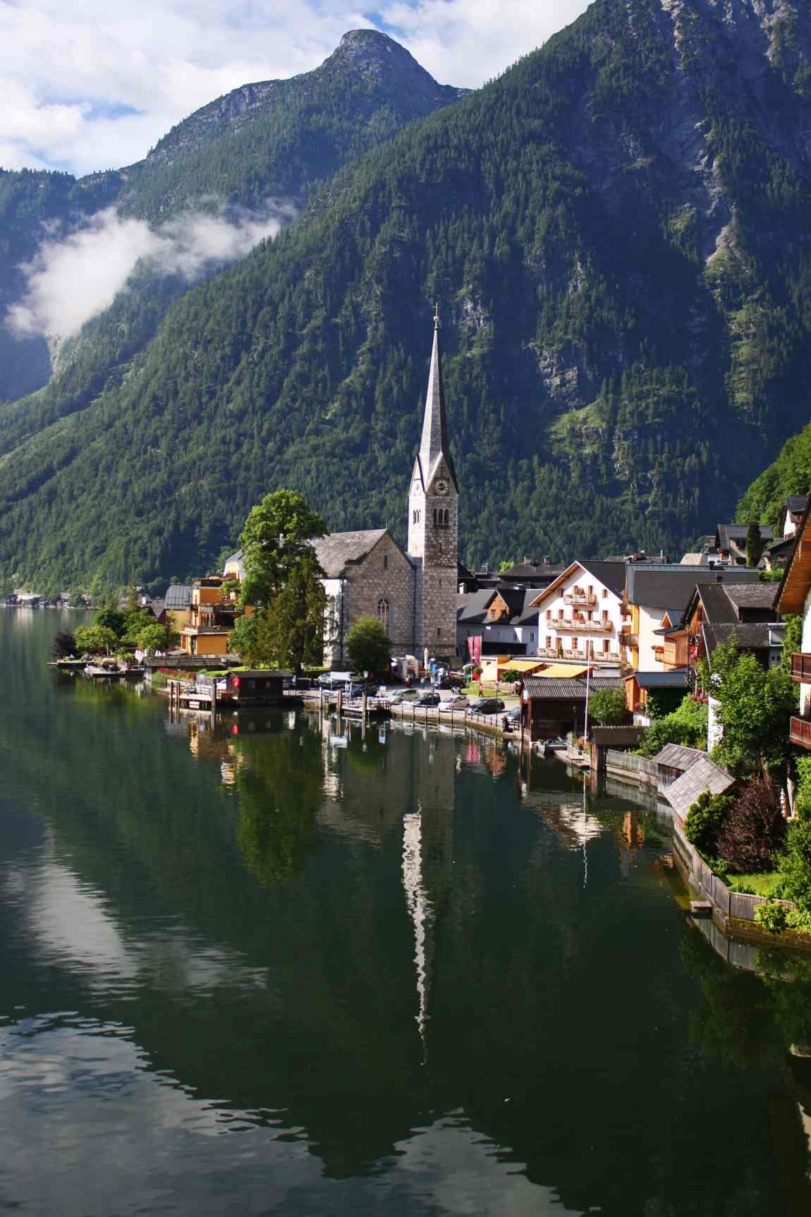 Classic view of the beautiful town of Hallstatt form a popular photography spot