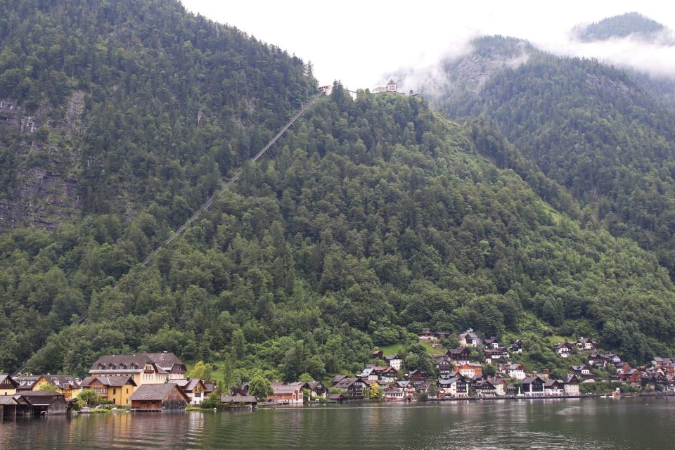 A view of the funicular railway to Salzberg Mountain from the lake