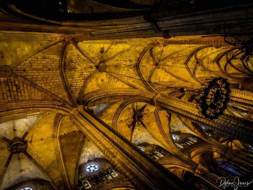 Looking up at the ceiling of Barcelona Cathedral
