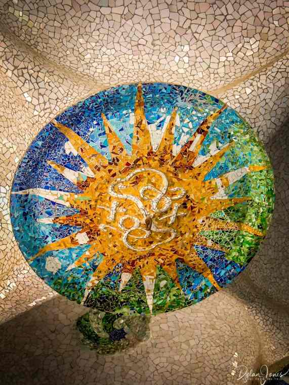Ceiling mosaics in Parc Guell