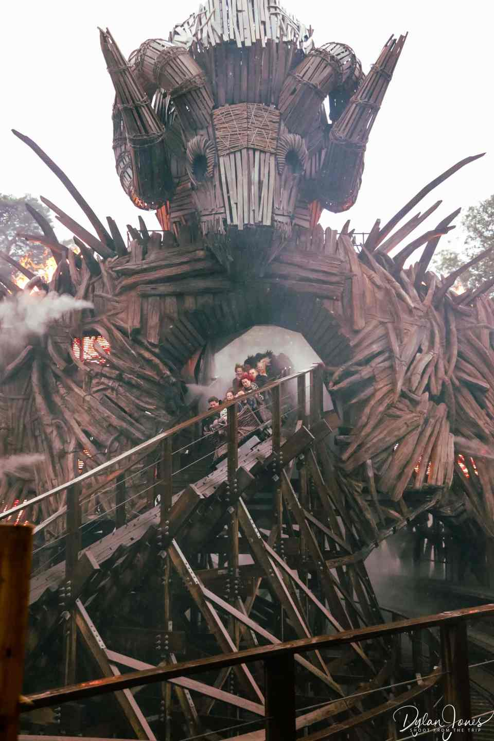 A train of riders hurtling through the Wicker Man at Alton Towers