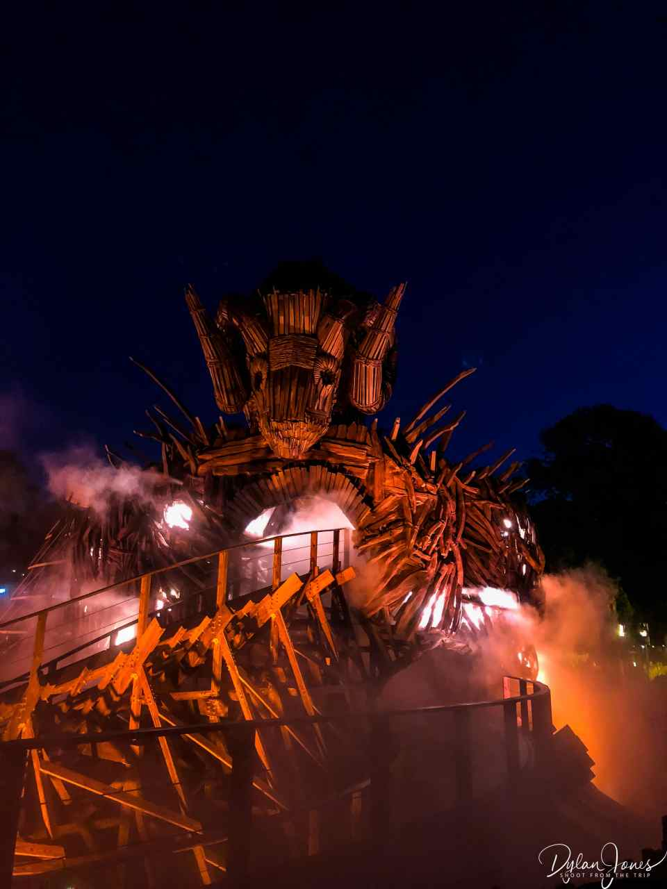 The Wicker Man rollercoaster at night , Alton Towers
