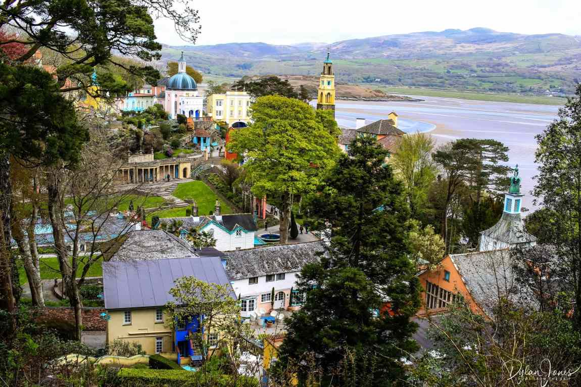 A view of Portmeirion Village and beyond from the woodland.