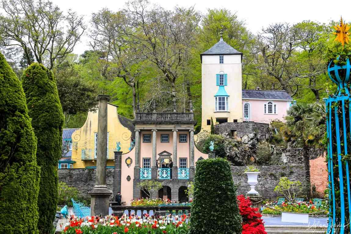 Pastel coloured buildings viewed from the Piazza in Portmeirion Village