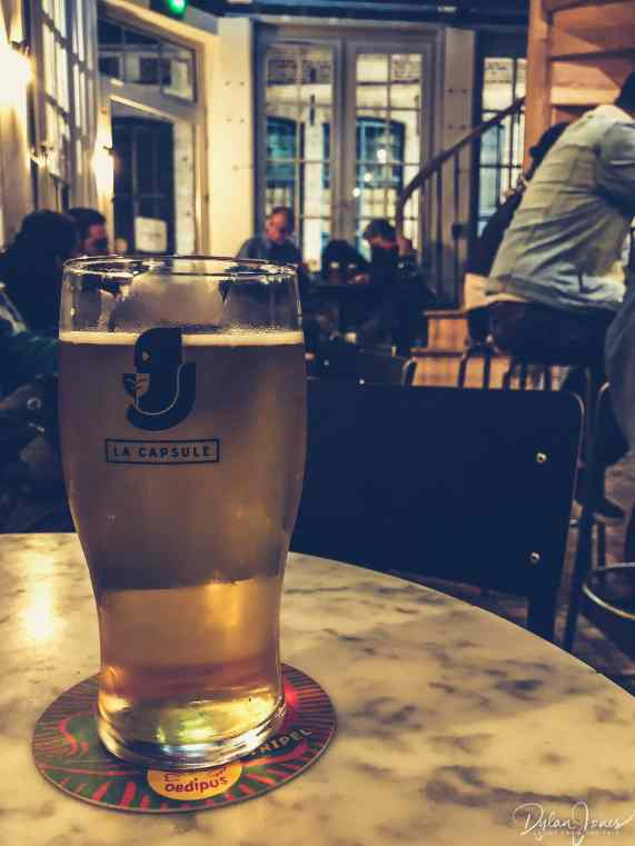 a beer at la capsule bar in vieux lille