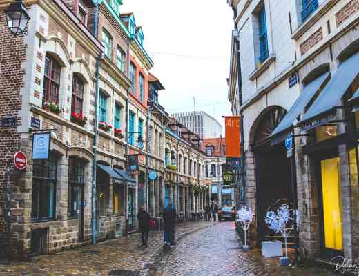 A damp and cobbled street in Vieux Lille