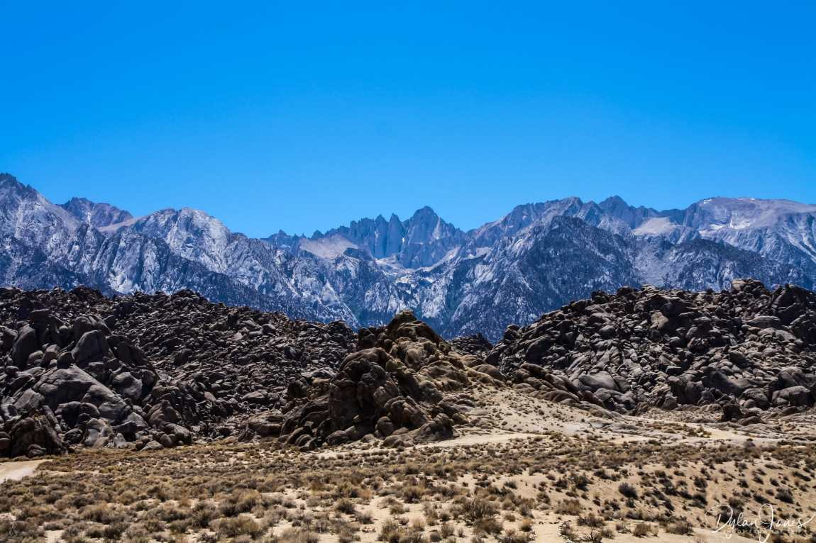 Eastern Sierra Alabama Hills rocks formations with the Mount Whitney backdrop